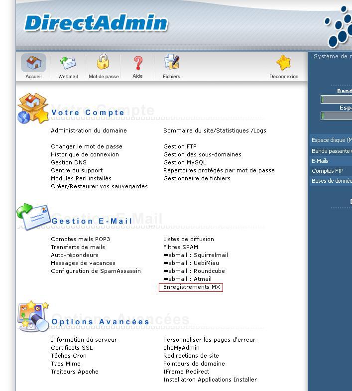 Menu DirectAdmin Enregistrements MX