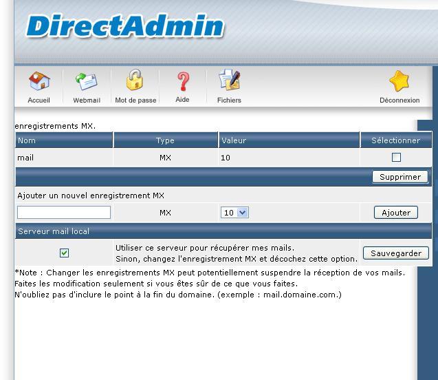 Configuration de Base DirectAdmin