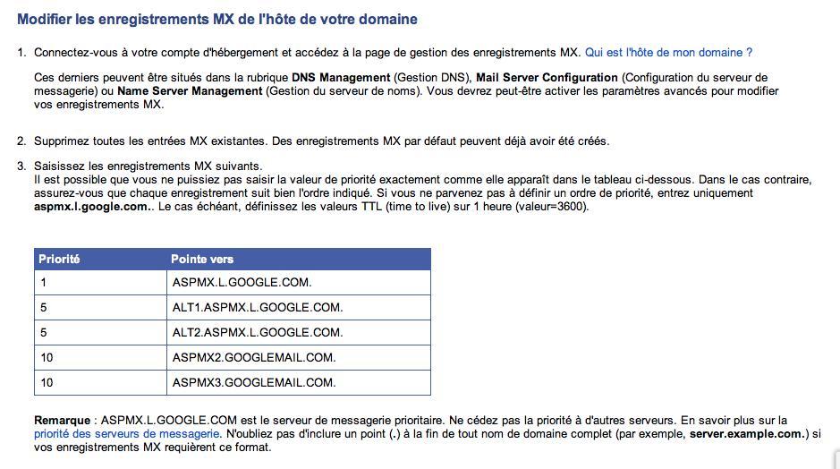 Informations MX Fournies par Gmail