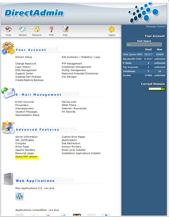 DirectAdmin PHP Select